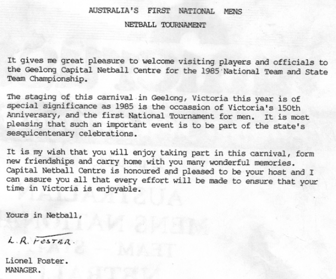 First Official Welcome 1985
