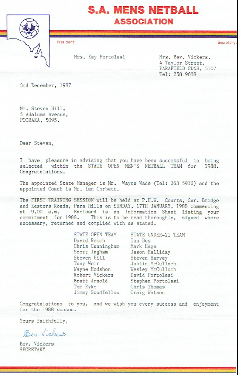 SA Men's Selection Letter 1988