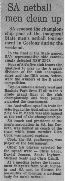 SA Newspaper Article 1985
